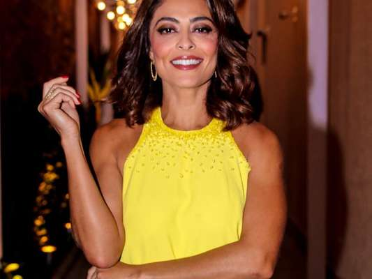 Juliana Paes valoriza bronzeado com look curto amarelo em ...